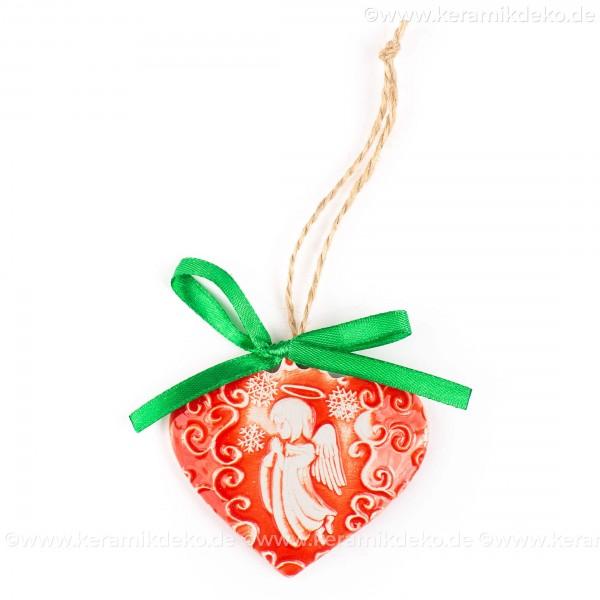 Weihnachtsengel - Herzform, rot, handgefertigte Keramik, Weihnachtsbaum-Hänger