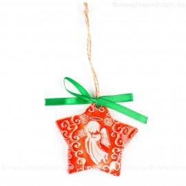 Weihnachtsengel - Sternform, rot, handgefertigte Keramik, Christbaumschmuck