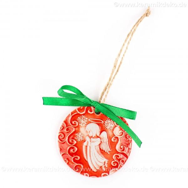 Weihnachtsengel - runde form, rot, handgefertigte Keramik, Weihnachtsbaumschmuck