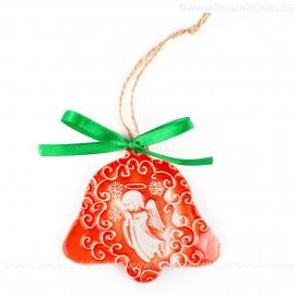 Weihnachtsengel - Glockenform, rot, handgefertigte Keramik, Baumschmuck zu Weihnachten