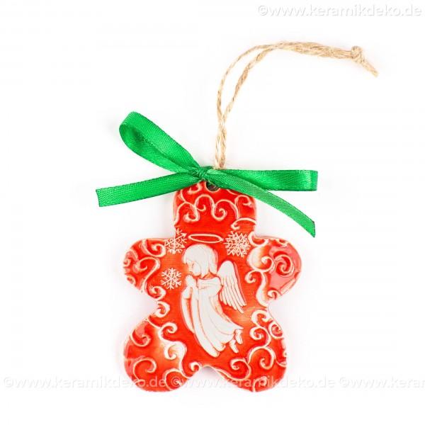 Weihnachtsengel - Keksform, rot, handgefertigte Keramik, Christbaumschmuck