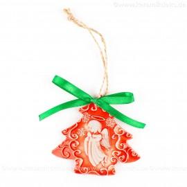 Weihnachtsengel - Weihnachtsbaum-form, rot, handgefertigte Keramik, Weihnachtsbaumschmuck