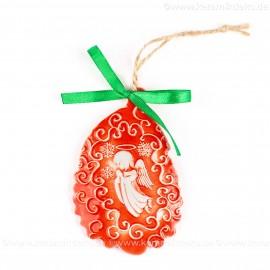 Weihnachtsengel - Weihnachtsmann-form, rot, handgefertigte Keramik, Baumschmuck zu Weihnachten