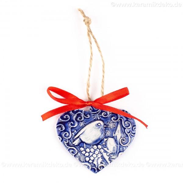 Weihnachtsvogel - Herzform, blau, handgefertigte Keramik, Weihnachtsbaum-Hänger