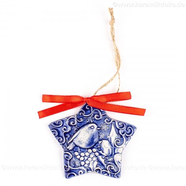 Weihnachtsvogel - Sternform, blau, handgefertigte Keramik, Christbaumschmuck