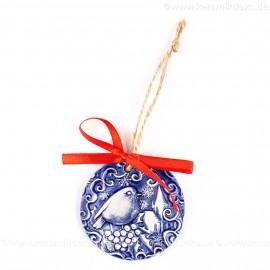 Weihnachtsvogel - runde form, blau, handgefertigte Keramik, Weihnachtsbaumschmuck