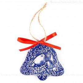 Weihnachtsvogel - Glockenform, blau, handgefertigte Keramik, Baumschmuck zu Weihnachten