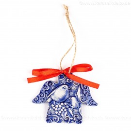 Weihnachtsvogel - Engelform, blau, handgefertigte Keramik, Weihnachtsbaum-Hänger