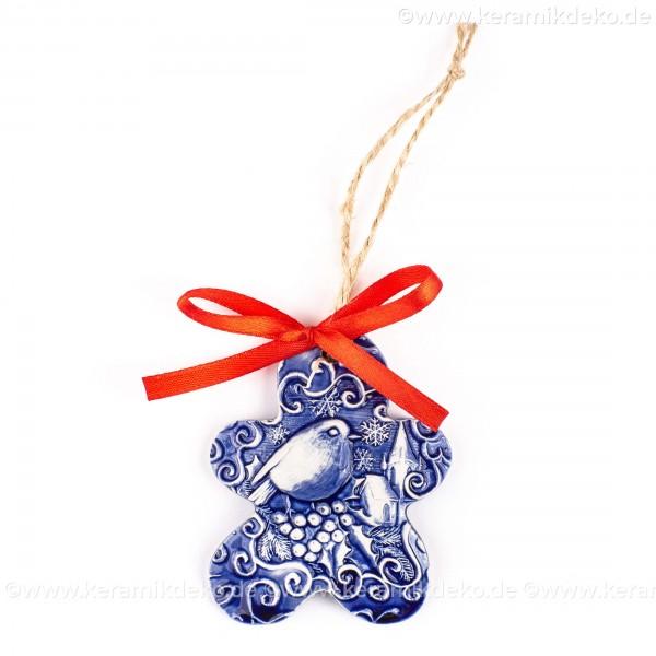 Weihnachtsvogel - Keksform, blau, handgefertigte Keramik, Christbaumschmuck