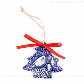 Weihnachtsvogel - Weihnachtsbaum-form, blau, handgefertigte Keramik, Weihnachtsbaumschmuck