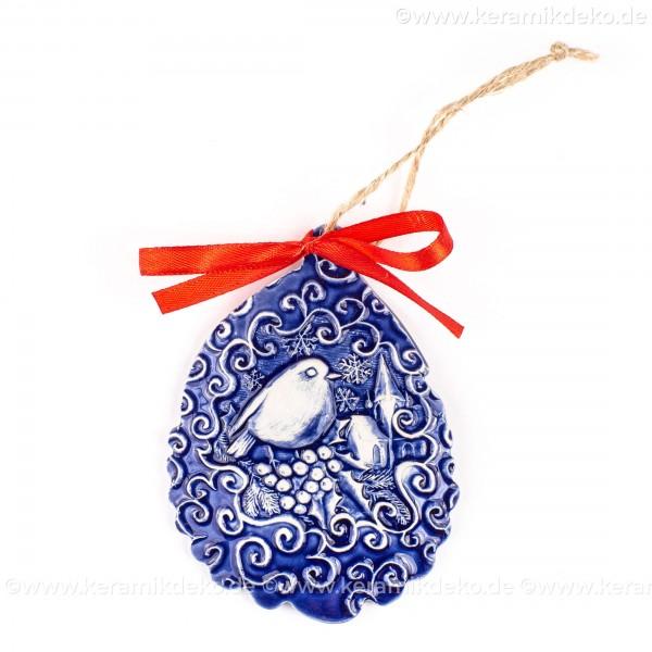 Weihnachtsvogel - Weihnachtsmann-form, blau, handgefertigte Keramik, Baumschmuck zu Weihnachten