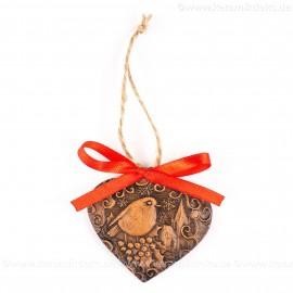 Weihnachtsvogel - Herzform, braun, handgefertigte Keramik, Weihnachtsbaum-Hänger