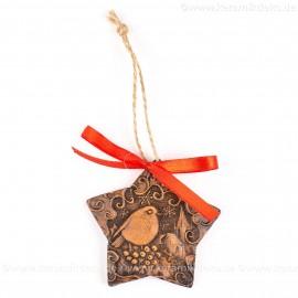 Weihnachtsvogel - Sternform, braun, handgefertigte Keramik, Christbaumschmuck