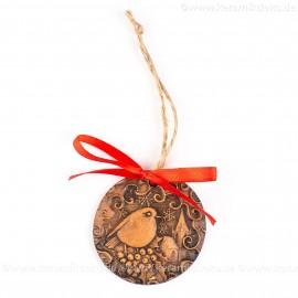 Weihnachtsvogel - runde form, braun, handgefertigte Keramik, Weihnachtsbaumschmuck
