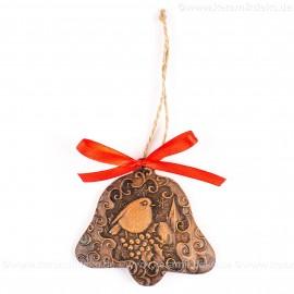 Weihnachtsvogel - Glockenform, braun, handgefertigte Keramik, Baumschmuck zu Weihnachten