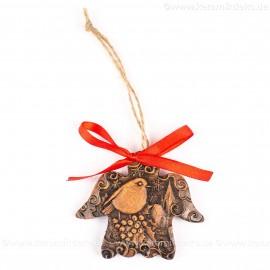 Weihnachtsvogel - Engelform, braun, handgefertigte Keramik, Weihnachtsbaum-Hänger