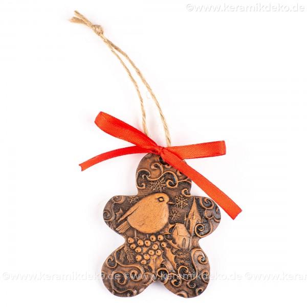 Weihnachtsvogel - Keksform, braun, handgefertigte Keramik, Christbaumschmuck