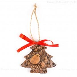 Weihnachtsvogel - Weihnachtsbaum-form, braun, handgefertigte Keramik, Weihnachtsbaumschmuck