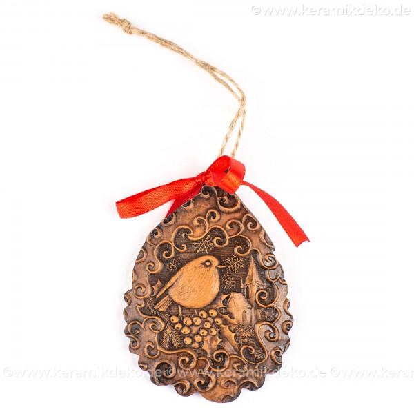 Weihnachtsvogel - Weihnachtsmann-form, braun, handgefertigte Keramik, Baumschmuck zu Weihnachten