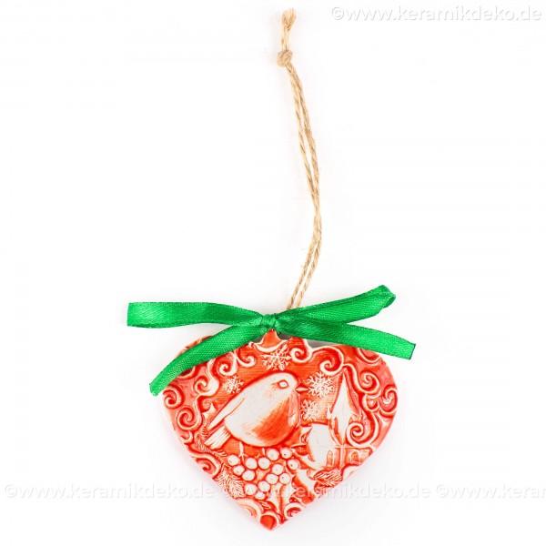 Weihnachtsvogel - Herzform, rot, handgefertigte Keramik, Weihnachtsbaum-Hänger