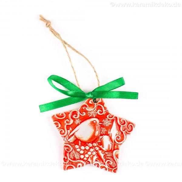 Weihnachtsvogel - Sternform, rot, handgefertigte Keramik, Christbaumschmuck