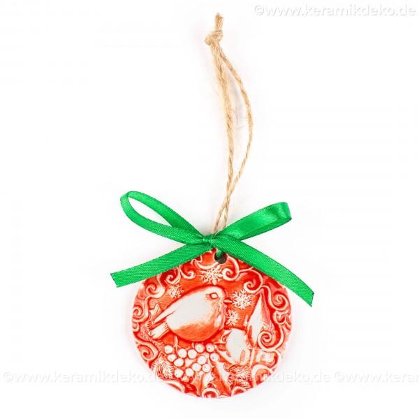 Weihnachtsvogel - runde form, rot, handgefertigte Keramik, Weihnachtsbaumschmuck