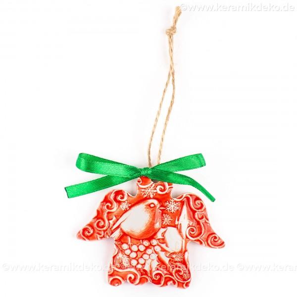 Weihnachtsvogel - Engelform, rot, handgefertigte Keramik, Weihnachtsbaum-Hänger