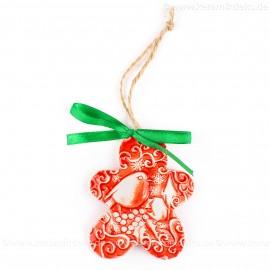 Weihnachtsvogel - Keksform, rot, handgefertigte Keramik, Christbaumschmuck