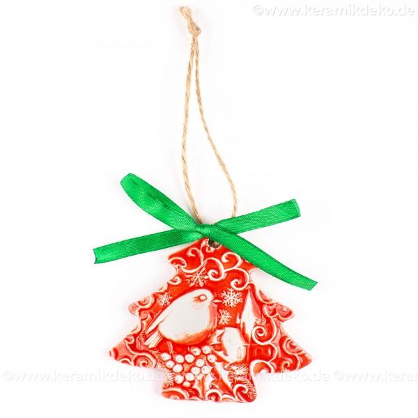 Weihnachtsvogel - Weihnachtsbaum-form, rot, handgefertigte Keramik, Weihnachtsbaumschmuck