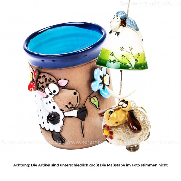 Keramikset 16 (3-tlg.) Schaf: Glocke, Becher und Minifigur
