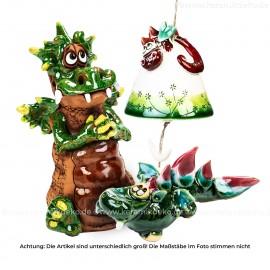 Keramikset 17 (3-tlg.) Drache: Glocke, Gartenstecker und Minifigur