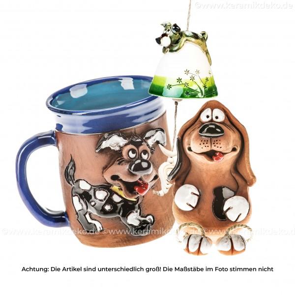 Keramikset 19 (3-tlg.) Hund: Glocke, Tasse und Gartenstecker