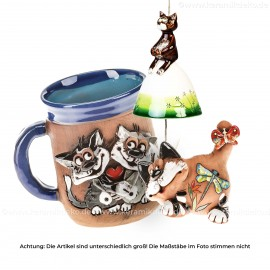 Keramikset 20 (3-tlg.) Katze: Glocke, Motivtasse und Gartenstecker