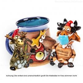 Keramikset 22 (3-tlg.) Elch: Weihnachtsdeko, Motivtasse und Minifigur