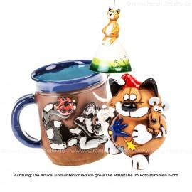 Keramikset 23 (3-tlg.) Katze: Glocke, Motivtasse und Weihnachtsdeko