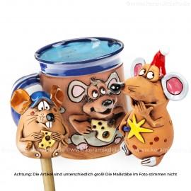 Keramikset 24 (3-tlg.) Maus: Gartenstecker, Weihnachtsdeko und Motivtasse