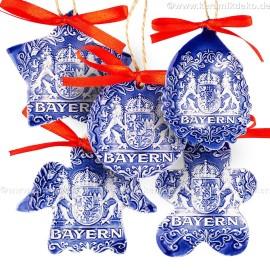 Keramikset 38 (6-tlg.) Bayern-Christbaumschmuck. Blau mix