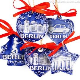 Keramikset 39 (6-tlg.) Berlin-Christbaumschmuck. Blau mix