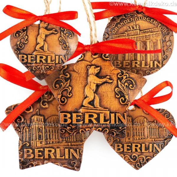 Keramikset 40 (6-tlg.) Berlin-Christbaumschmuck. Braun mix