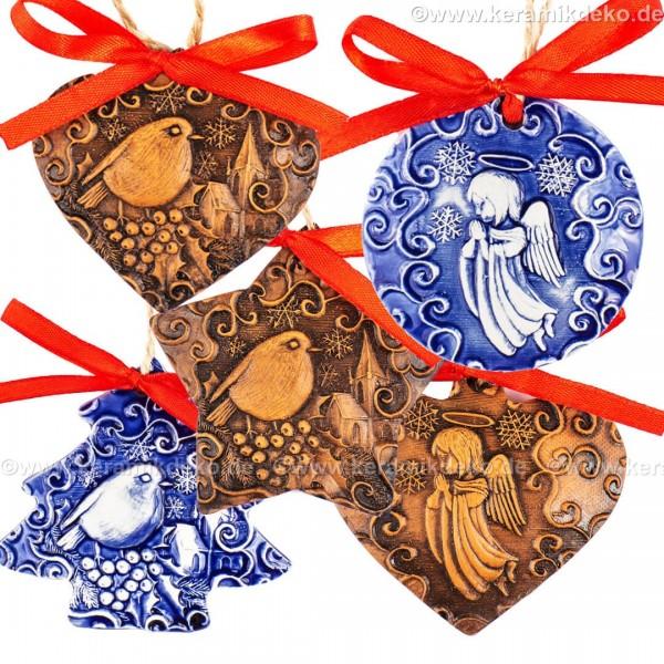 Keramikset 41 (6-tlg.) Weihnachtsengel und Weihnachtsvogel-Christbaumschmuck