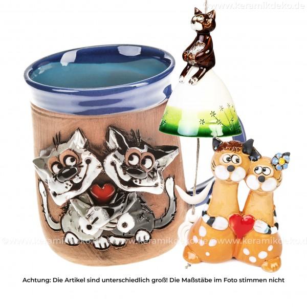 Katzenliebe - 3 tlg. Keramik Geschenkset zum Valentinstag