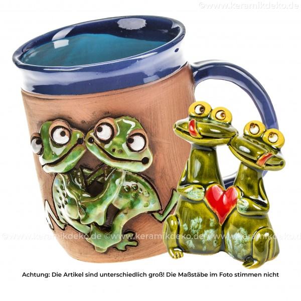 Verliebte Frösche - 2 tlg. Geschenkset aus Keramik zum Valentinstag