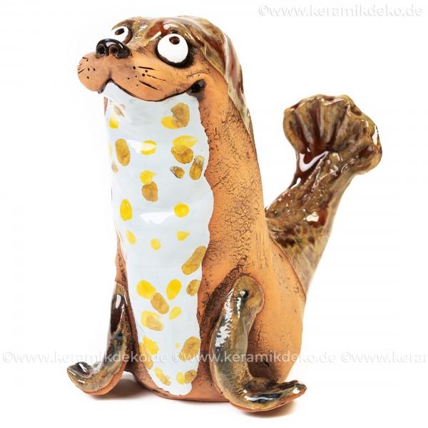 Keramik Gartenstecker - Seehund - Gartendeko