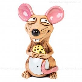 Keramik Gartenstecker - Ratte mit Käse - Gartendeko