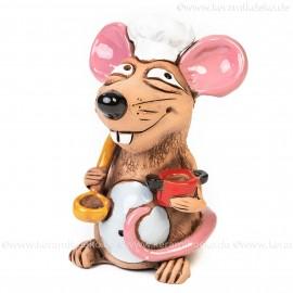 Keramik Gartenstecker - Ratatouille Ratte Mini-Chefkoch - Gartendeko