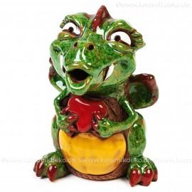 Keramik Gartenstecker - Drachenmännchen mit Herz klein - Gartendeko