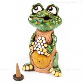 Keramik Räuchermännchen - Frosch mit Blume - Räucherfigur und Dekofigur