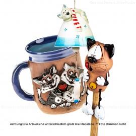 Keramikset 15 (3-tlg.) Katze: Glocke, 3D-Motiv-Becher & Gartenstecker