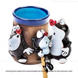 Keramikset 22 (3-tlg.) kleiner Maulwurf: Gartenstecker, Tasse und Kantenhocker