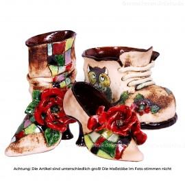 3tlg. Set handgefertigte Blumentöpfe - Übertopf Schuh und Stiefel aus Keramik